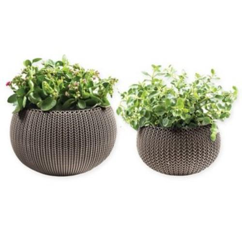 Keter Cozies Knit 2-Piece Round Resin Indoor/Outdoor Planter Set