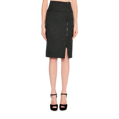 TOM FORD Birds Eye Wool-Blend Skirt, Black