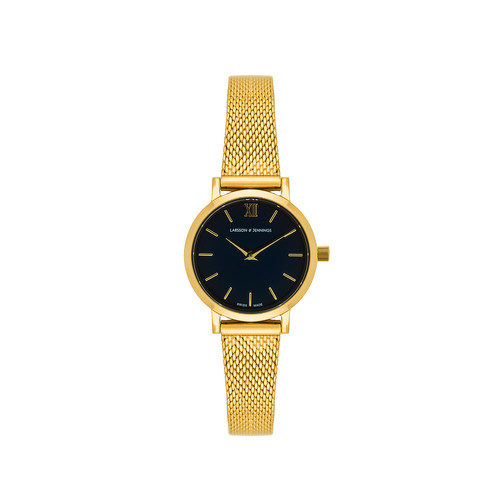 Larsson & Jennings 5th Anniversary Lugano Solaris 26mm Watch in Gold & Midnight Blue