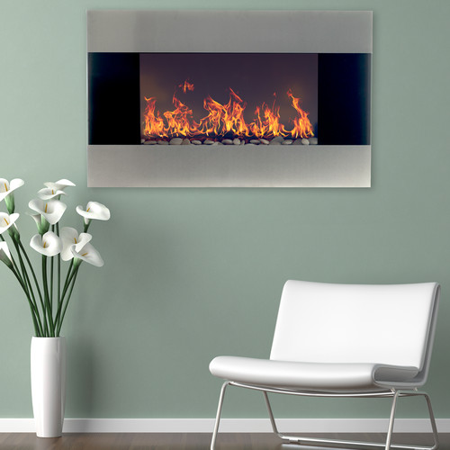 Northwest Stainless Steel Electric Fireplace with Wall Mount & Remote