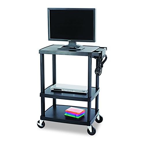 Safco Products 8933BL Adjustable Plastic AV/TV Cart, Black [Plastic]