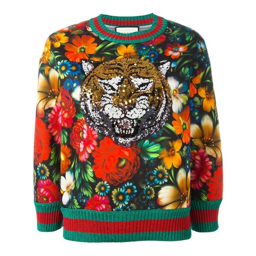 GUCCI Sequinned Tiger Floral Sweatshirt