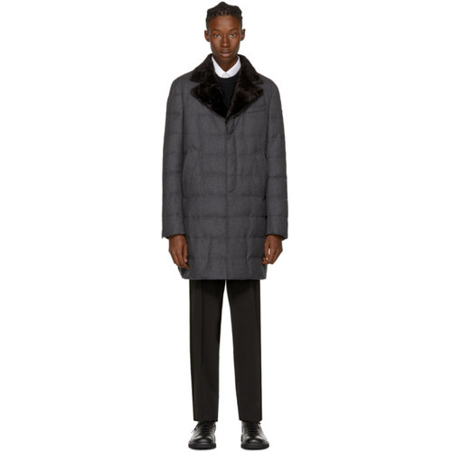 MONCLER GAMME BLEU Grey Shearling & Down Coat