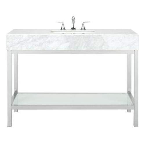 Home Decorators Collection Luna 48 in. W x 22 in. D Vanity in Chrome with Marble Vanity Top in White with White Basin