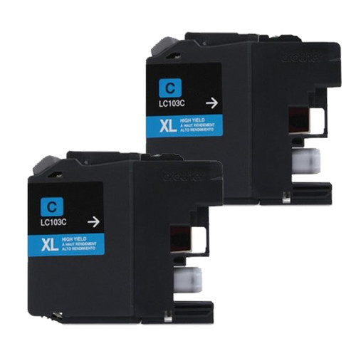 Brother LC103 Cyan Compatible Ink Cartridge (Remanufactured) (Pack of 2)