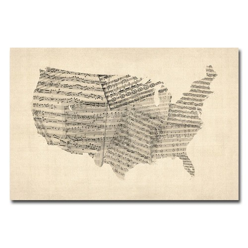 Trademark Global Michael Tompsett 'USA - Old Sheet Music Map' Canvas Art [Overall Dimensions : 16x24]