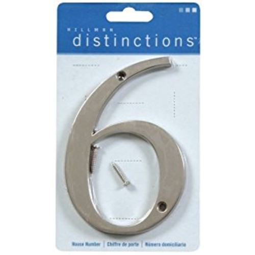 Distinctions by Hillman 843326 4-Inch Brushed Nickel Flush-Mount House Number 6 [Brushed Nickel, Number 6]