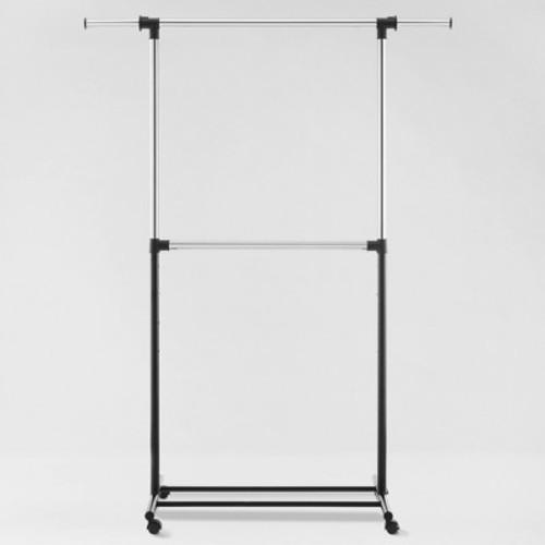 Metal Base Adjustable Double Rod Garment Rack - Black - Room Essentials