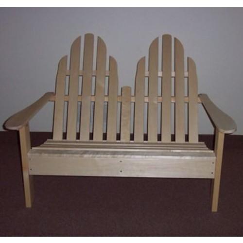 Prairie Leisure Design Adirondack Settee Wood Garden Bench; Unfinished Aspen
