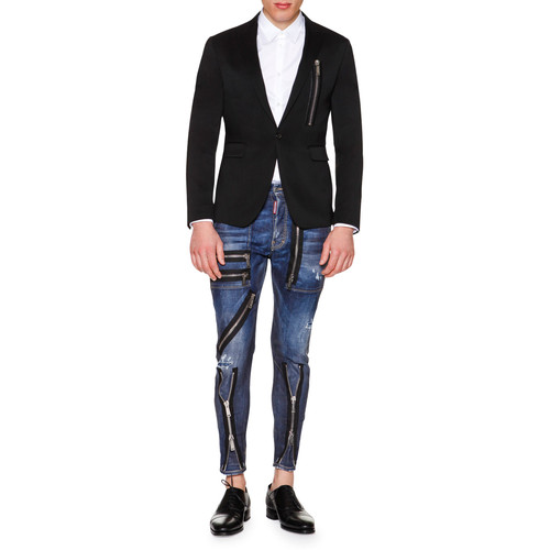 DSQUARED2 One-Button Wool Blazer With Zip-Detail, Black