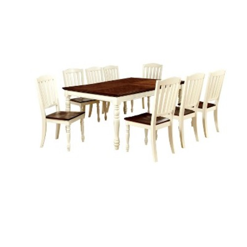 9 Piece Cottage Style Dining Table Set Wood/Vintage White And Dark Oak - Furniture of America
