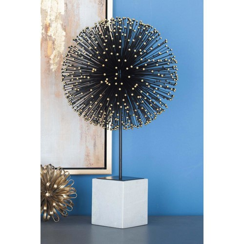 24 in. Modern Abstract Decorative Black and Gold Iron Starburst Sculpture