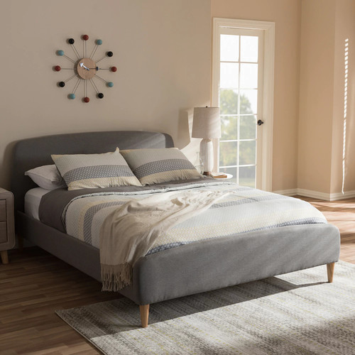 Baxton Studio Malloy Gray Modern Bed with Upholstered Headboard - Queen Size