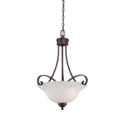 Millennium Lighting 3-Light Rubbed Bronze Pendant with Etched White Glass