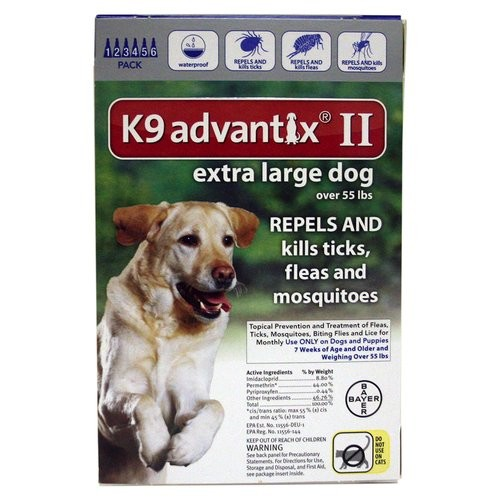 K9 Advantix II BAY-81520429 Flea and Tick Control for Dogs 55+ lbs 6 Month Supply