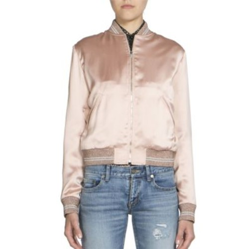 SAINT LAURENT Satin Teddy Bomber Jacket