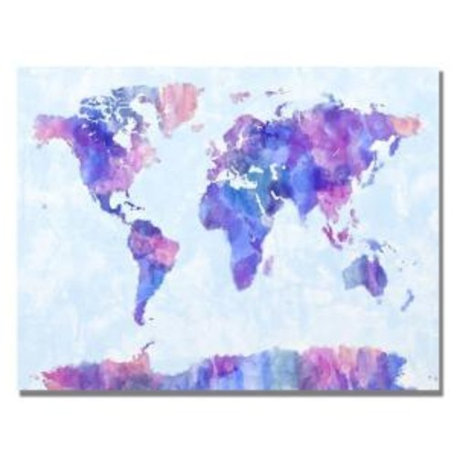 Trademark Fine Art 18 in. x 24 in. Watercolor World Map IV Canvas Art