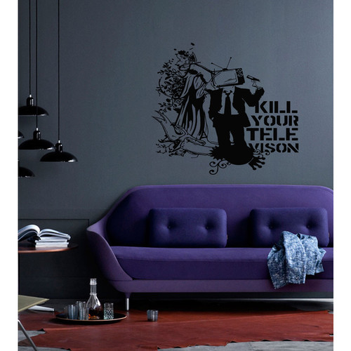 TV weapons revolver television set Wall Art Sticker Decal