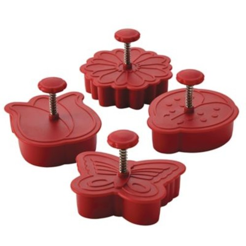 CakeBoss Decorating 4-Piece Springtime Fondant Press Set in Red