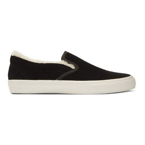 JUNYA WATANABE Black Suede Slip-On Sneakers