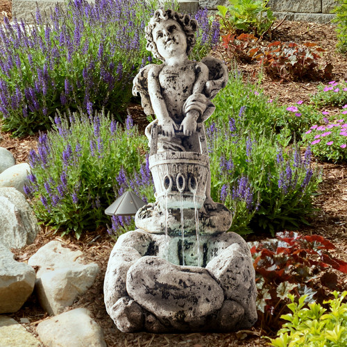 Pure Garden LED Lighted Outdoor Cherub Fountain with Pump