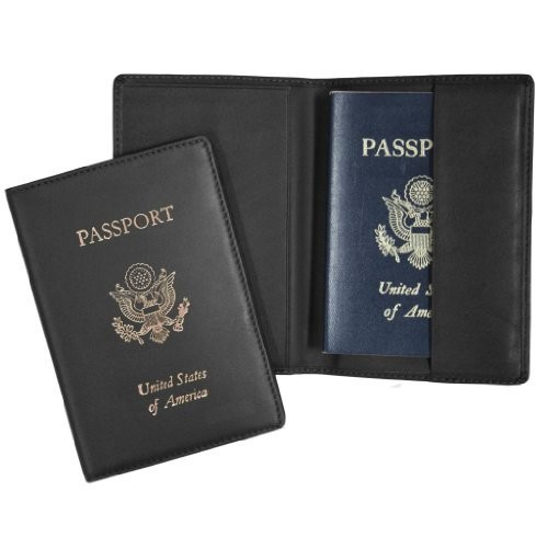 Royce Leather RFID Blocking Foil Stamped Passport Jacket [Black 1, One Size]