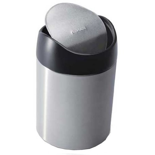 simplehuman Countertop Trash Can, Brushed Stainless Steel, 1.5 L / 0.40 Gal [Brushed Ss]