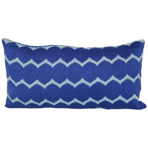 Outdoor Throw Pillow Lumbar - Woven Ikat Dot Blue - Project 62