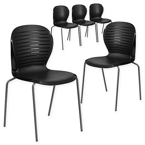 Flash Furniture Ribbed Back Stacking Chairs in Black (Set of 5)