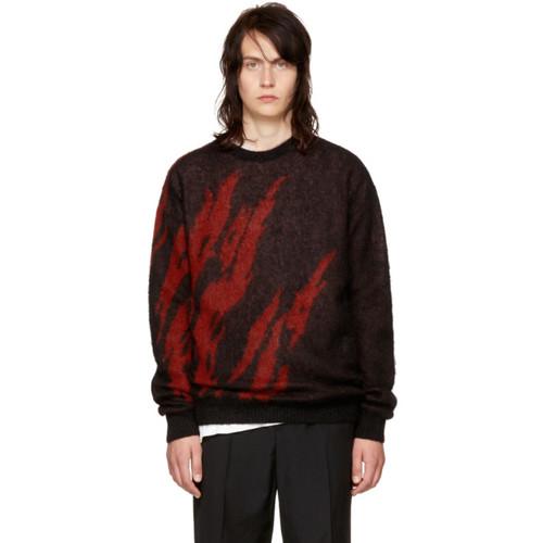 SAINT LAURENT Black & Red Flame Sweater
