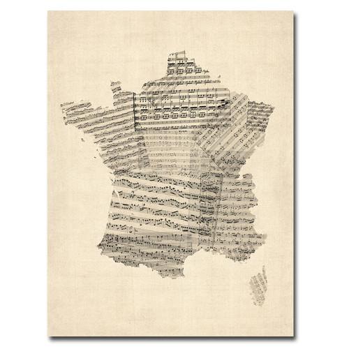 Trademark Global Michael Tompsett 'France - Music Map' Canvas Art [Overall Dimensions : 18x24]