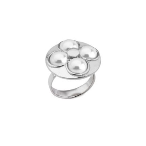 Luck 8MM White Mabe Pearl & Sterling Silver Ring