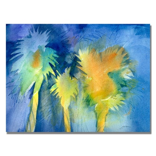 Trademark Fine Art Shelia Golden 'Night Palm' Canvas Art 24x32 Inches