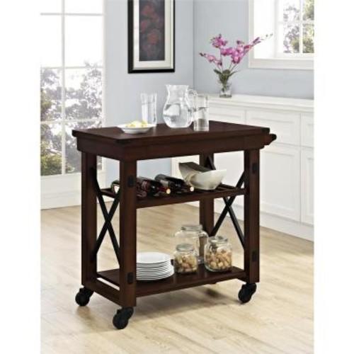 Altra Furniture Wildwood Mahogany Kitchen Cart with Towel Bar