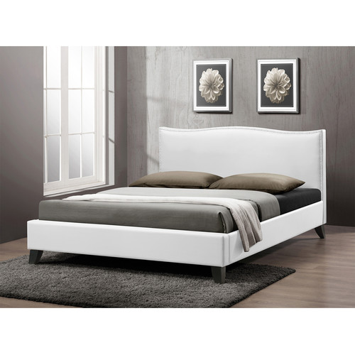 Baxton Studio Battersby White Modern Bed with Upholstered Headboard - Full Size