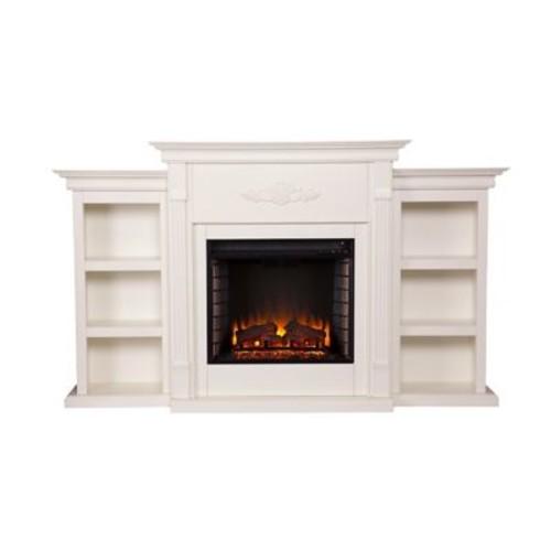 SEI Tennyson Wood/Veneer Electric Floor Standing Fireplace, Ivory