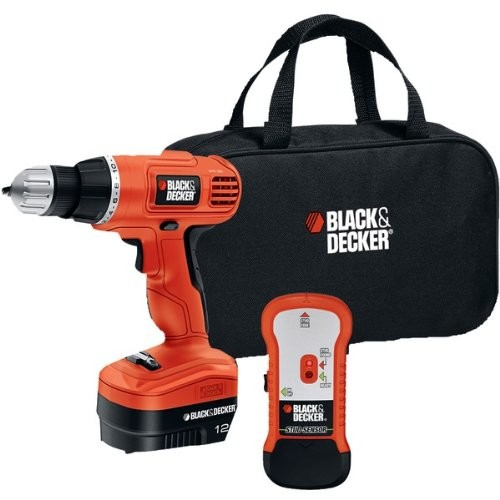 Black & Decker GCO12SFB 12-Volt NiCad 3/8-Inch Cordless Drill/Driver with Storage Bag and Stud Sensor [13.20in. x 9.60in. x 3.60in.]