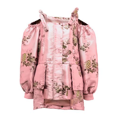 FENTY PUMA BY RIHANNA Floral Cold-Shoulder Peplum Coat, Pink