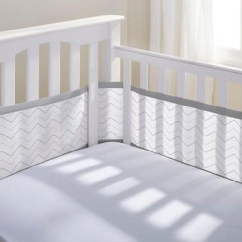 BreathableBaby Breathable Mesh Chevron Crib Liner in Grey