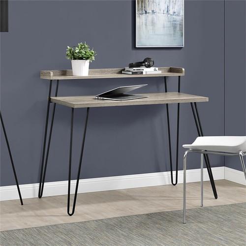 Altra Furniture Haven Retro Desk with Riser, Sonoma Oak/Gunmetal Gray [Sonoma Oak/Gunmetal Gray]