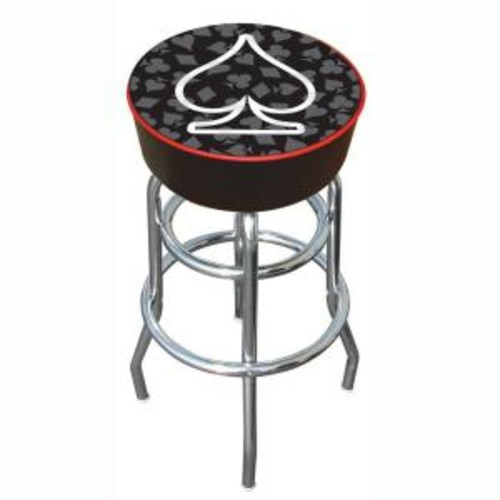 Trademark Four Aces Spade 31 in. Chrome Swivel Cushioned Bar Stool