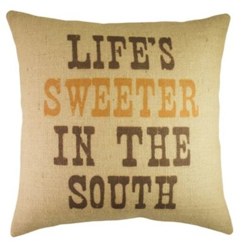 TheWatsonShop Life's Sweeter in the South Burlap Throw Pillow