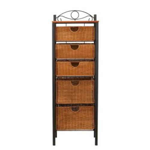 Southern Enterprises Paulson 18 in. W Storage Rack in Black with Oak