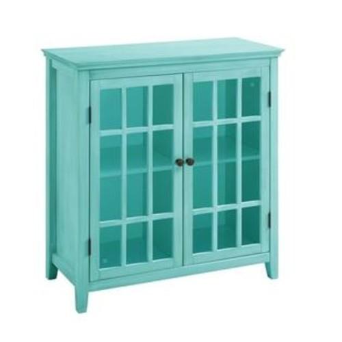 Linon Largo Antique Double Door Curio Cabinet in Turquoise