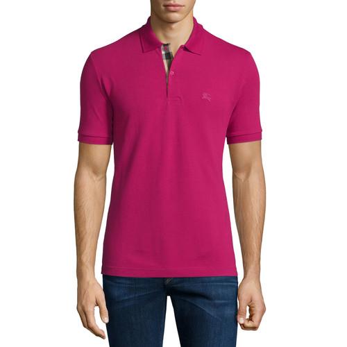 BURBERRY BRIT Short-Sleeve Pique Polo Shirt, Fuchsia