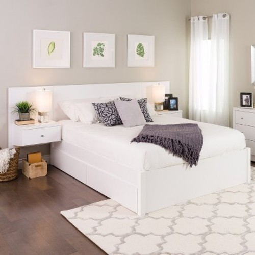 Floating Queen Headboard with Nightstands White - Prepac