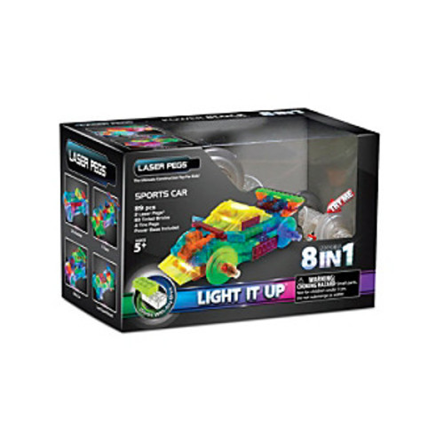 Laser Pegs Lighted Construction Toy 8-in-1 Sports Car