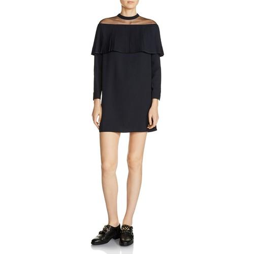 MAJE Remia Pleated-Overlay Mini Dress