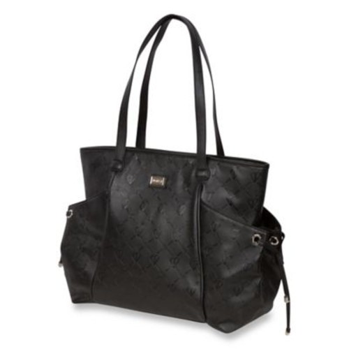 The Bumble Collection Embossed Tote Diaper Bag in Black