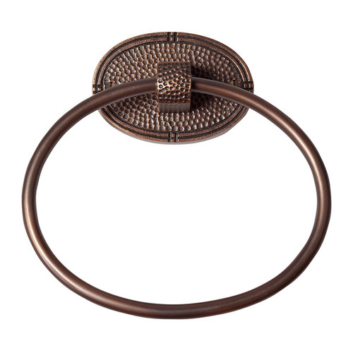 The Copper Factory Antiqued Hammered Copper Oval Towel Ring